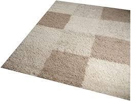 shaggy teppich hochflor langflor teppich wohnzimmer teppich gemustert in karo design braun taupe beige größe 200 x 290 cm