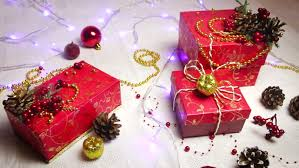 Red Handmade Gift Boxes And Christmas Decorations Golden Apples Bumps With Shimmering Lanterns