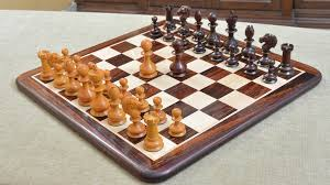 Combo Of Reproduced 19th Century Antique Series Chess Set With Wooden Board In Rose Antiqued Box Wood