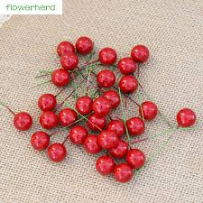30pcs Simulation Red Fruit Cherry Berries Christmas Tree Flower Window Ornament DIY Decoration Accessories