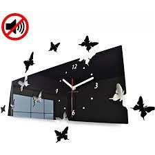 flexistyle große moderne wanduhr schmetterling schwarz querformat 20 x 60 cm 3d diy wohnzimmer schlafzimmer kinderzimmer
