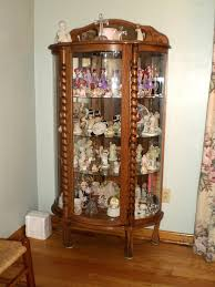 curved glass lighted oak china cabinet w glass shelves jpg