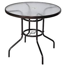 Cloud Mountain 32quot Outdoor Dining Table Patio Tempered Glass Bistro Top Umbrella