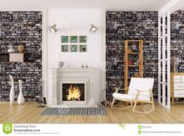 Living Room With Fireplace by Interior Of Living Room With Fireplace 3d Rendering Stock