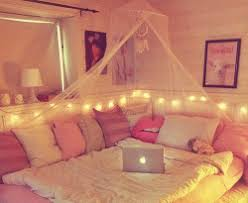 Perfect Bedroom Bed DIY Pink Fairy Lights Girly Cosy Dream Room Tumblr Decor