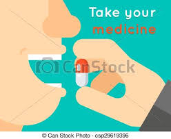 Take Your Medicine Concept Person Puts Tablet In Mouth Vector