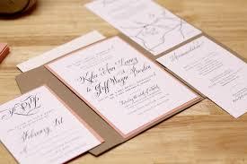 Rustic Peach Wedding Invitation With Kraft Pocketfold And Custom Map