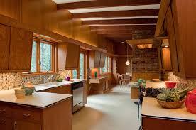 mid century kitchen midcentury with brick wall wood kitchen