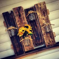 Pallet And Mason Jars Wall Vases