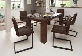 home affaire essgruppe bine set 7 tlg bestehend aus 6 sabine stühlen mit armlehne und dem maggie esstisch akazie dunkel kaufen otto