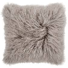 Grey Mongolian Fur Pillow