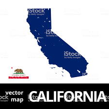 California Vector Map With State Flag Blue On White Background Royalty Free