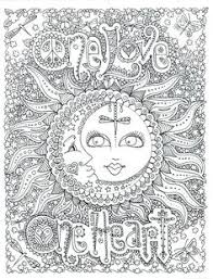 One Love Heart Celestial Sun And Moon Adult Coloring Page