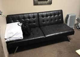 Mainstays Sofa Sleeper Black Faux Leather by Mainstays Morgan Faux Leather Tufted Convertible Futon Brown