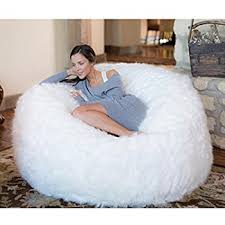 Comfy Sacks 5 Ft Memory Foam Bean Bag Chair White Furry