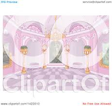 Clipart Of A Pink Palace Interior With Plants Candles Chandelier And Paintings