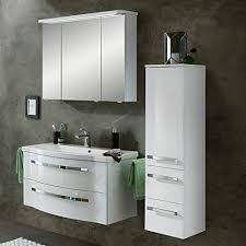 lomadox badezimmer set in weiß hochglanz 90cm waschtisch