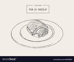 Chocolate Croissants Pain Au Chocolat Hand Draw Vector Image