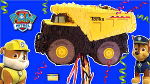 100 Tonka Truck Birthday Party Paw Patrol Opens TONKA TRUCK PINATA With Tinys Surprise Toys