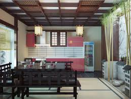 Cool Japanese Kitchen Design With Bamboo Decoration And Lampion Kaamz