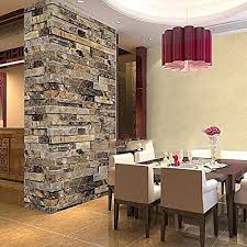Wallpaper Removable Brick 3D Textured Effect Natural Embossed Stack