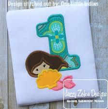 Mermaid e Appliqué Embroidery Design 1st birthday appliqué