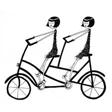 1000x1000 Best Friends On A Bicycle Art Print BFF Tandem Bike