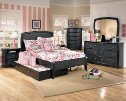 bedroom black leather ashley furniture trundle bed for teens