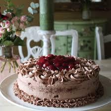 schokoladen sahne torte mit kirschen