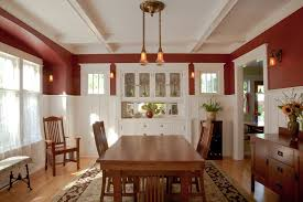 Farmhouse Dining Room Lighting Craftsman With Leaded Glass Windows China Cabinet Box Beams