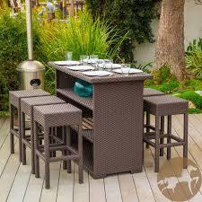 wicker bar height patio set 7 brown wicker bar patio set w bar stools
