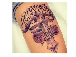 Memorial Stone Cross Arm Tattoo