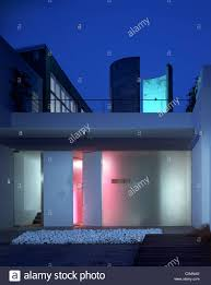100 Glass Modern Houses House Entrance At Night With Lighting Through Frosted