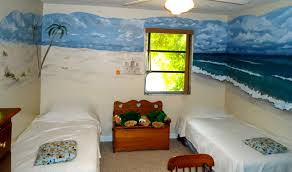 beach scene decal wall mural design decoration with wooden