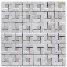 carrara white target pinwheel mosaic tile w gray dots polished