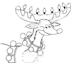 Reindeer Lights Coloring Pages For Christmas