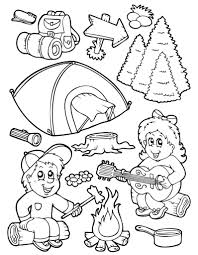 Camping Equipment Coloring Pages For Kids BKo Printable