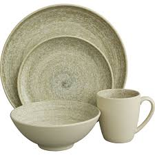 Rustic Dinnerware Set Stoneware Mossy Oak 16 Pc Country View Larger