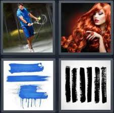 4 Pics 1 Word Answer for Tennis Redhead Blue Paint