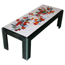 ceramic tile top coffee table for adri belgique for sale at 1stdibs