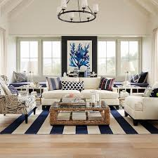 Beach Coastal Living Room With White Sofas And Zebra Patterned Chair