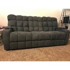 Wall Hugger Reclining Sofa by Prolounger Grey Microfiber Wall Hugger Storage 3 Seat Reclining