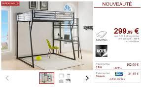 vente unique bureau lit mezzanine cazel couchage 140x190cm plateforme bureau lits