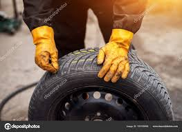100 Tire By Mark Mechanic Yellow Gloves Using Chalk Workshop