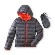 basic editions boy u0027s packable hooded down puffer coat u0026 storage bag