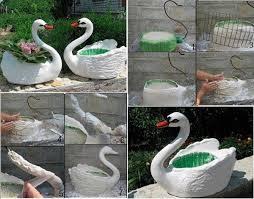Plastic Bottles Swan Plant Pot