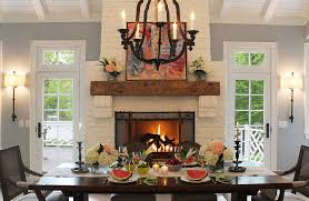 Rustic Fireplace Mantel Shelves Dining Room Traditional With White Brick Small Table