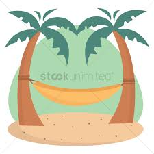 Hammock tied to palm trees Vector Image