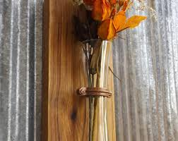 Wood Sconce Wall Rustic Vase Flower