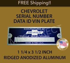NEW BLANK CHEVROLET Serial Number Tag Data Plate Chevy Id Vin ...